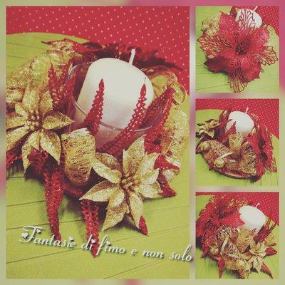 Centrotavola natalizio rosso/dorato