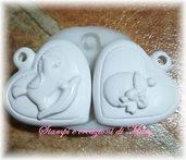 2 stampi cuore in gomma siliconica da colata con biberon e cavvaluccio a dondolo
