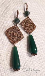 orecchini agata verde e filigrana ottone