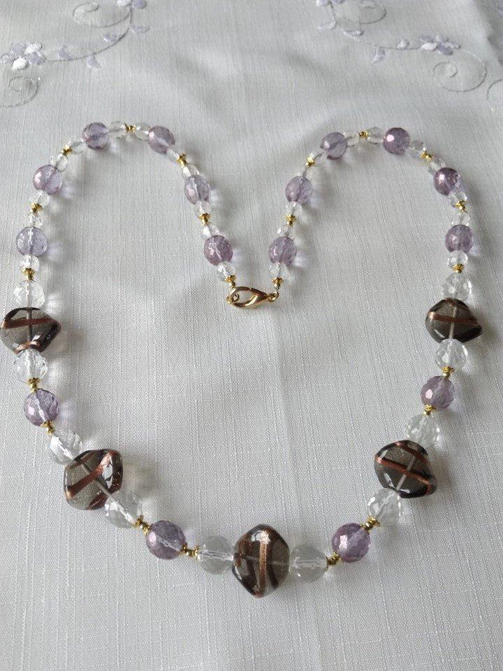 collana lunga con mezzo cristallo cristal e viola e vetro di murano