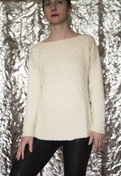 maglia bianca fatta a mano lavorazione in sbieco-UnicOrn