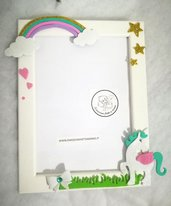 Porta foto cornice Unicorno rosa arcobaleno. PERSONALIZZABILE.
