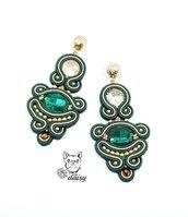 Orecchini lunghi soutache - orecchini lunghi verdi - orecchini verde e oro - orecchini pendenti eleganti