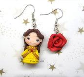Orecchini Belle principessa rosa fimo regalo ragazza donna kawaii