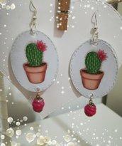 Orecchini carta Gioielli decoupage Cactus Piante Idea regalo Personalizzabili