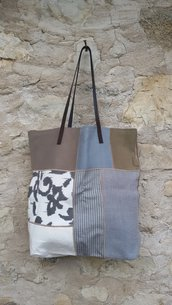 shopper patchwork in cotone e lino