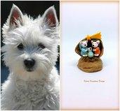Presepe con cane west highland terrier in fimo nella noce, idea regalo natale per amanti dei cani