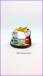 Presepe Unicorno in fimo, presepe in miniatura come idea regalo natale per un'appassionata di unicorni
