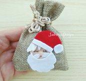 Sacchetto Natale con babbo Natale feltro, sacchetto bomboniera, sacchetti profumati, sacchetti regalo, sacchetti confetti, sacchetti Natale