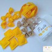1 barattolo - set gioco pappa feltro 4 tipi di pasta
