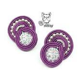 orecchini con perno a lobo viola - orecchini soutache piccoli - gioielli soutache - orecchini perline - orecchini viola