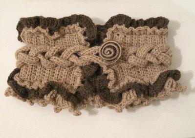 Scalda collo sciarpa beige/marrone scuro donna fatta a mano idea regalo lana all'uncinetto