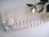Copertina neonato lana color panna fatta a mano idea regalo corredino nascita battesimo cerimonia uncinetto