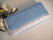 Copertina neonato azzurra fatta a mano idea regalo corredino nascita battesimo cerimonia uncinetto