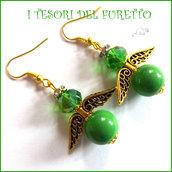 """Orecchini Natale """" Angelo portafortuna verde e oro  """" angioletto perle cristalli idea  regalo personalizzabile  con clip donna ragazza  handmade"""