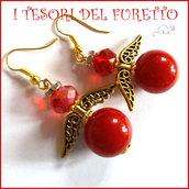 """Orecchini Natale """" Angelo portafortuna rosso e oro  """" angioletto perle cristalli idea  regalo personalizzabile  con clip donna ragazza  handmade"""