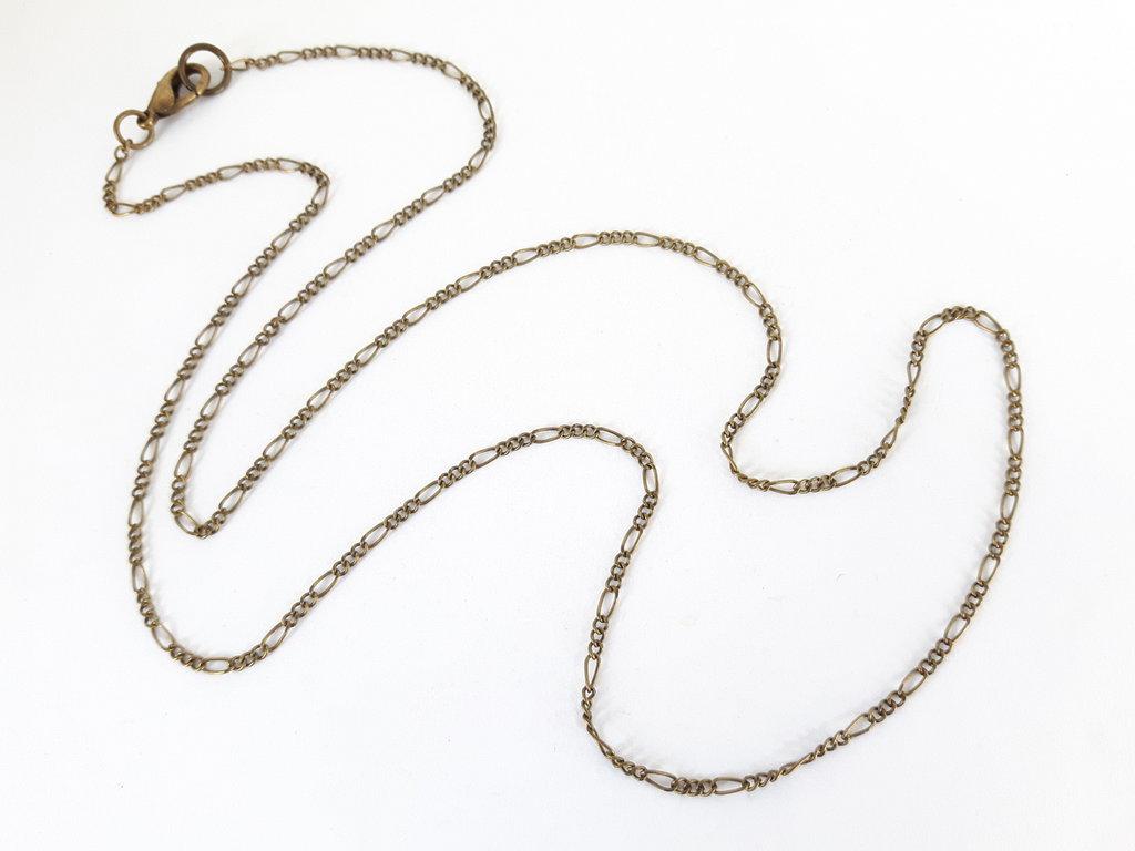 1 Base per Collana in Ottone naturale con anellini saldati - Figaro (55cm)