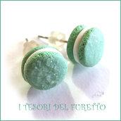 """Orecchini """" French macaroon verde acqua """" macaron fimo cernit premo idea regalo dolcetti miniatura cibo biscotto  pasticcino bambina"""