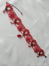 collana , collarino, girocollo in mezzo cristallo rosso
