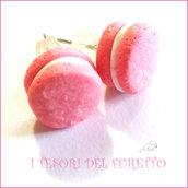 """Orecchini """" French macaroon rosa """" macaron fimo cernit premo idea regalo dolcetti miniatura cibo biscotto  pasticcino bambina"""