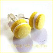 """Orecchini """" French macaroon giallo limone """" macaron fimo cernit premo idea regalo dolcetti miniatura cibo biscotto  pasticcino bambina"""