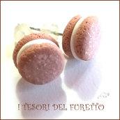 """Orecchini """" French macaroon  cioccolato """" macaron fimo cernit premo idea regalo dolcetti miniatura cibo biscotto  pasticcino bambina"""