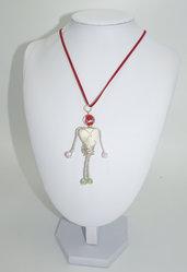 """Collana  Wire in alluminio marmo e cristallo boemo, il """" cavaliere"""""""