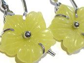 orecchini giada gialla fiore