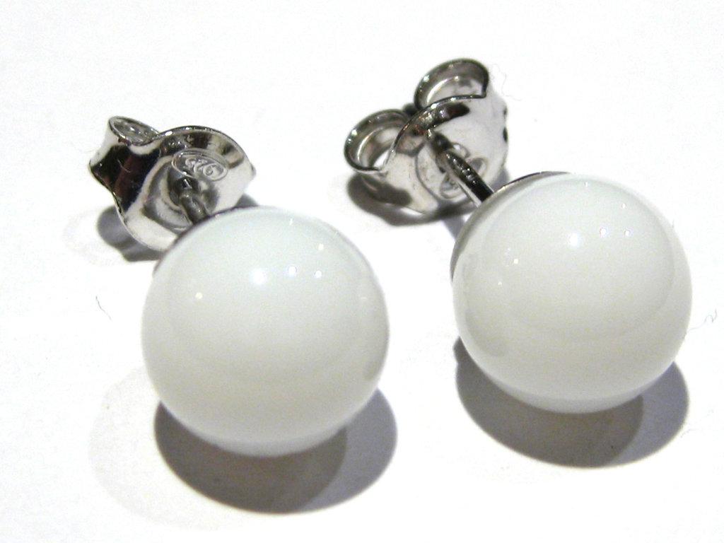 orecchini agata bianca sfera mm 6