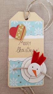 Tag natalizio con pupazzo di neve