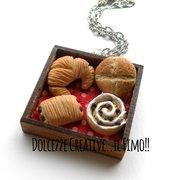 Collana Vassoio con pane - Cornetto - croissant cioccolato - pagnotta, girella cioccolato e crema