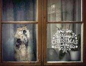 Adesivo Merry Christmas con riccioli e decori