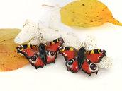 Orecchini pendenti con farfalle Vanessa in pasta di mais/porcellana fredda modellate e dipinte a mano, regalo per amanti delle farfalle