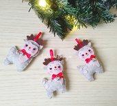 Renne di Natale in fetro, decorazioni albero, palline albero, decorazioni feltro, ghirlanda Natale, Renna Natale, renne babbo Natale