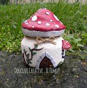 Lanternina - lanterna fungo - idea regalo, casetta delle fate con foglie - kawaii - handmade - fimo
