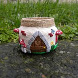 Lanternina - lanterna fungo - idea regalo, casetta delle fate con foglie - kawaii - handmade