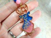 Portachiavi Cervo Rosa e Azzurro con Decorazioni Oro in Resina Uv // Fatto a Mano ❤