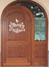 Adesivo Merry Christmas con uccellino e fiocchi di neve