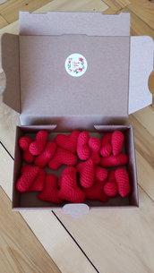 20 calamite- cuori rossi- fatti a mano all'uncinetto- bomboniere