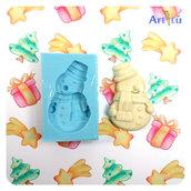 Stampo Pupazzo di Neve, stampo in silicone flessibile per resina e gesso, strampo artigianale, soggetto 100% originale