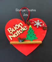 Fuoriporta Natale legno a forma di cuore