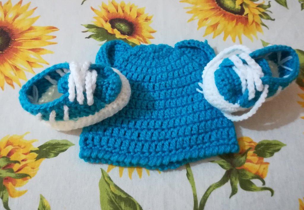 Cappellino E Scarpette Neonato Uncinetto Adidas Bambini Abbig