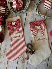 CALZA BEFANA elegante, PERSONALIZZATA CON NOME, country, calza per adulti, decorazioni Natale, decorazioni camino, Epifania