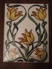 fiori piastrella art deco dipinta a mano