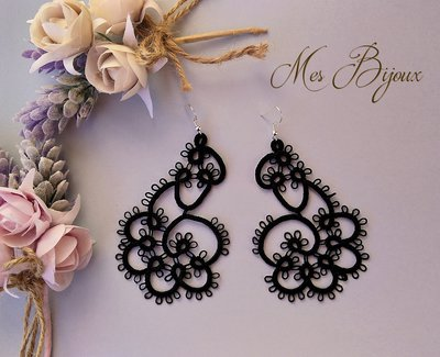 Orecchini moda uncinetto, pizzo nero ,chiacchierino,idea regalo donna ragazza