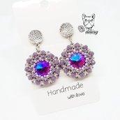Orecchini pendenti in tessitura di perline - gioielli perline - orecchini perline - orecchini lilla, viola, argento