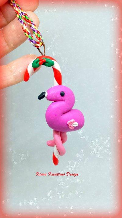 Addobbo natalizio con il fenicottero, decorazione di Natale come regalo per appassionati del fenicottero