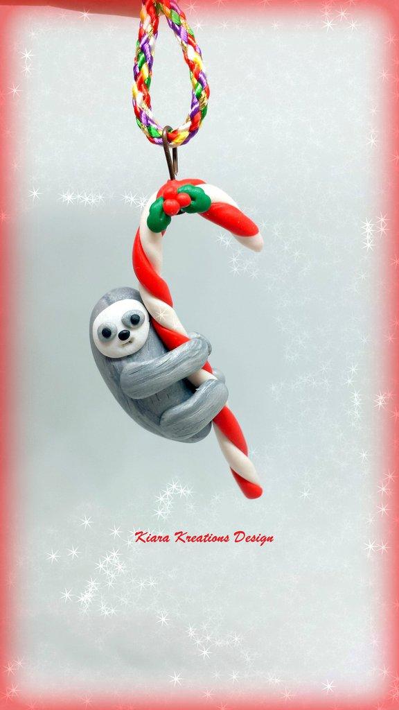 Addobbo natalizio con il bradipo, decorazione di Natale come regalo per appassionati del bradipo
