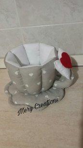 Tazza stoffa, cuori, fiocco, porta cialde, caffè, porta cioccolatini, arredamento, idea regalo