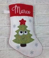 Albero- Calza Natale Befana personalizzata con nome - Lungh.cm.29